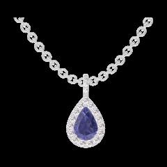 Pendentif Create 206696 Or blanc 9 carats - Saphir bleu Poire 0.3 carat - Halo Diamant - Sertissage Diamant - Chaîne FORCAT