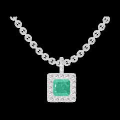 Pendentif Create 207272 Or blanc 9 carats - Émeraude Princesse 0.3 carat - Halo Diamant - Sertissage Diamant - Chaîne FORCAT