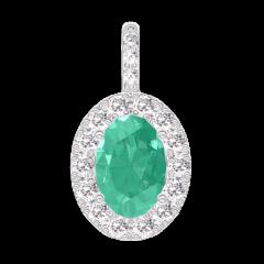 Pendentif Create 207640 Or blanc 9 carats - Émeraude Ovale 0.3 carat - Halo Diamant - Sertissage Diamant - Pas de chaîne