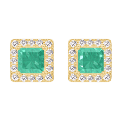 Pendientes Create 201366 Oro amarillo 9 quilates - Esmeralda Princesa 0.3 quilates (2 X) - Halo Diamante