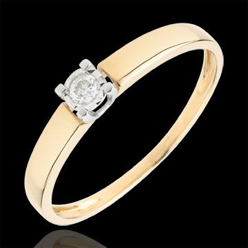 خاتم سوليتير حب أبدي ـ الماس 0.05 قيراط ـ من الذهب الأصفر 9 قيراط