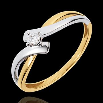 خاتم سوليتير ثلاثي العش الثمين ـ شاماي ـ 0.08 قيراط الماس ـ الذهب الأبيض و الذهب الأصفر 18 قيراط