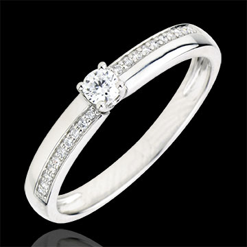 خاتم خطوبة دستيني ـ ميرڢييْ ـ الماس 0.1 قيراط ـ الذهب الأبيض 18 قيراطً