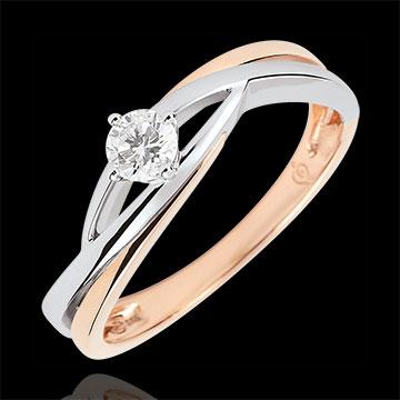 خاتم سوليتير العش الثمين ـ دوڢا ـ الألماس 0.15 قيراط ـ الذهب الأبيض والذهب الوردي 18 قيراط