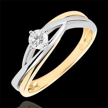 خاتم سوليتير العش الثمين ـ دوڢا ـ الألماس 0.15 قيراط ـ الذهب الأبيض والذهب الأصفر 9 قيراط