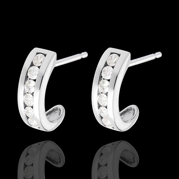 1/2 Half-moon earrings paved white gold - 0.2 carat - 6 diamonds