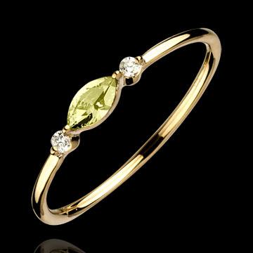 Geschenk Frau Armband Heiliger Urwald - Diamant - gebürstetes Gelbgold 9 Karat