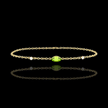 buy on line Regard d'Orient bracelet - peridot and diamonds - yellow gold 9 carats
