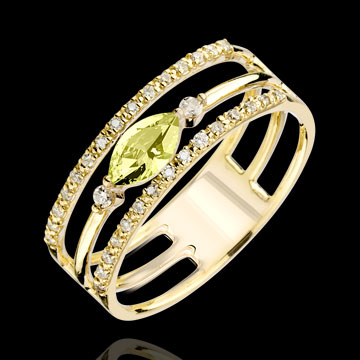 buy Regard d'Orient ring - large size - peridot and diamonds - yellow gold 9 carats