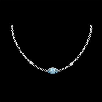 Geschenke Frauen Halskette Auge des Orients - Blauer Topas und Diamanten - 9 Karat Weißgold