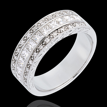 خاتم فيري ـ ڢينوس ـ من الذهب الأبيض 18 قيراط شبه مرصوف ـ 0.87 قيراط ـ 35 ماسة