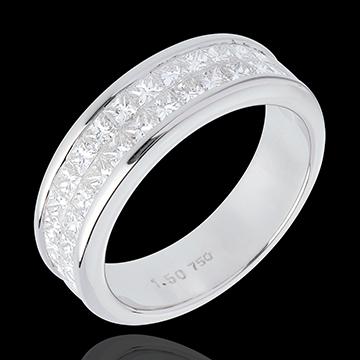 خاتم زواج من الذهب الأبيض عيار 18 قيراط شبه مرصَّع ـ ترصيع سككي من صفين ـ 1.5 قيراط