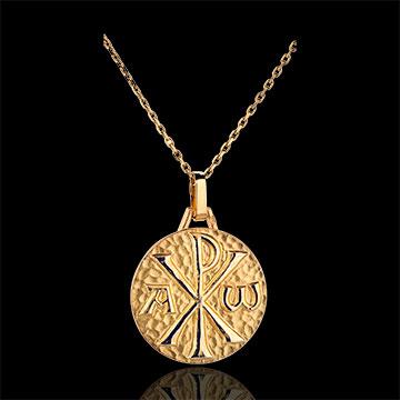 ميدالية كريسم 18 مم ـ من الذهب الأصفر 18 قيراط