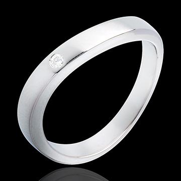 خاتم إيليپس من الذهب الأبيض 18 قيراط 1 ألماس