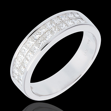 خاتم زواج من الذهب الأبيض عيار 18 قيراط شبه مرصع ـ ترصيع سككي من صفين ـ 1 قيراط