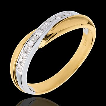 Juwelier Trauring Diamantenband Miria in Weiss- und Gelbgold - Kanalfassung - 7 Diamanten