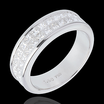 gifts women Half eternity ring white gold semi paved-double channel setting - 1.5 carat