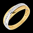 Wedding ring yellow gold-white gold semi-paved - 16 diamonds