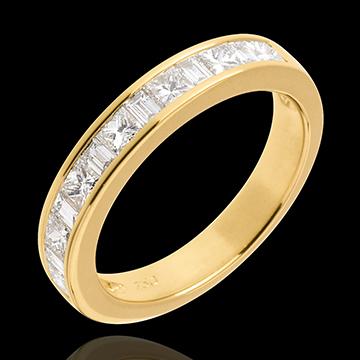 Geschenke Frauen Diamant Trauring zur Hälfte mit Diamanten besetzt in Gelbgold - Kanalfassung - 0.7 Karat - 13 Diamanten