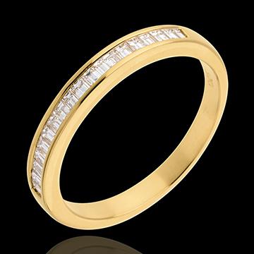 Geschenk Frau Trauring zur Hälfte mit Diamanten besetzt in Gelbgold - Kanalfassung - 0.3 Karat