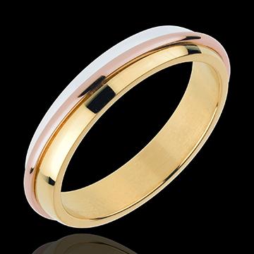 خاتم زواج سولير ـ ثلاثة ألوان من الذهب 18 قيراط