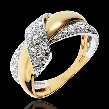 حلقة دوبل نو ـ الذهب الأبيض والذهب الأصفر عيار 18 قيراط