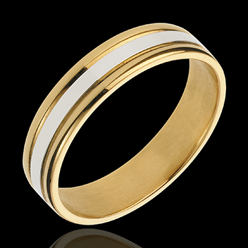 خاتم زواج استير واحد ـ من الذهب الأبيض والذهب الأصفر 18ك