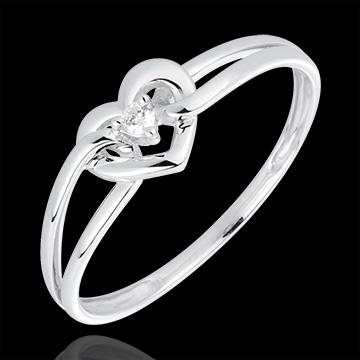 خاتم حبي ـ ذهب أبيض 18 قيراطً و الألماس