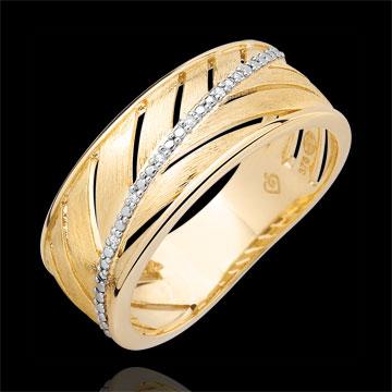 خاتم السَعف ـ الذهب الأصفر المصقول 18 قيراط والألماس