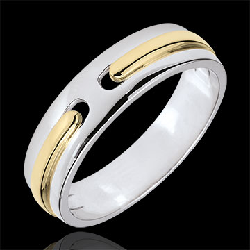 خاتم زواج وعد ـ ذهب كامل ـ نموذج كبير جدا ـ الذهب الأبيض والذهب الأصفر 18 قيراط