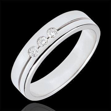 خاتم زواج ثلاثي أولمپيا ـ نموذج متوسط ـ الذهب الأبيض 18 قيراط