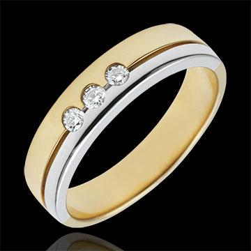 خاتم زواج ثلاثي أولمپيا ـ نموذج متوسط ـ ثنائي اللون ـ الذهب الأبيض والذهب الأصفر 18 قيراط