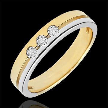 خاتم زواج ثلاثي أولمپيا ـ نموذج صغير ـ ثنائي اللون ـ الذهب الأبيض والذهب الأصفر 18 قيراط