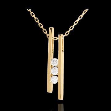 Geschenk Collier Stimmgabel Trilogie in Gelbgold - 3 Diamanten