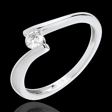 Geschenke Frau Solitär Kostbarer Kokon - Apostroph - Weißgold - Diamant 0.16 Karat - 18 Karat