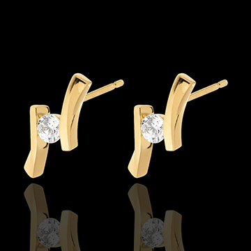 present Earring Precious Nest - Apostrophe (very big model) - yellow gold - 0.31 carats - 18 carats