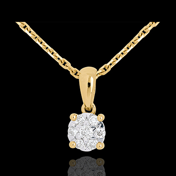 Kauf Anhänger Solitär in Gelbgold - 7 Diamanten