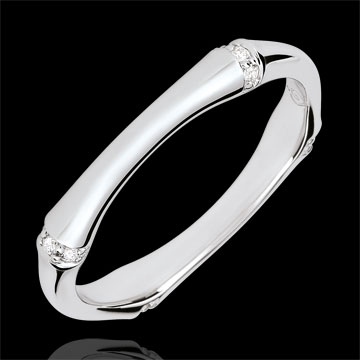 خاتم زواج الذغل المقدس ـ متعدد الألماس 3 مم ـ الذهب الأبيض 18 قيراط