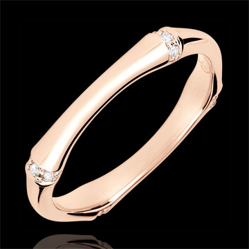 خاتم زواج الذغل المقدس ـ متعدد الألماس 3 مم ـ الذهب الوردي 18 قيراط