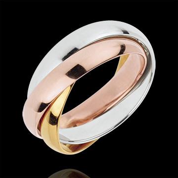 خاتم زواج زحل ـ نموذج كبير ـ 3 ألوان ذهب ـ 3 حلقات ـ الذهب 18 قيراط