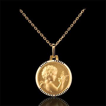 Online Verkauf Medaille Engel mit Vogel 14mm