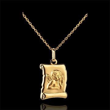 Frau Medaille Engel Raphael Pergamentrolle