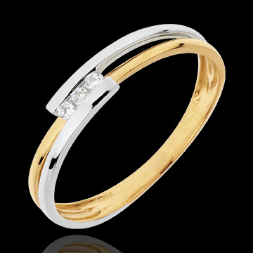 gift women Trilogy Precious Nest - Ring Adoration - white gold and yellow gold - 18 carats