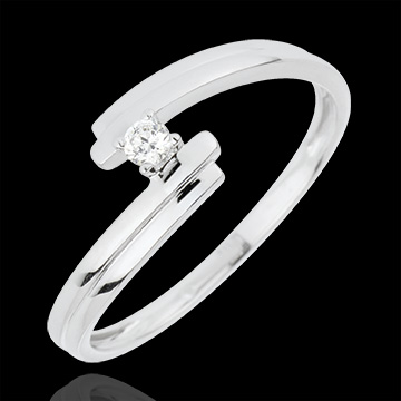 gift woman Solitaire Ring Precious Nest - Love Forever - white gold - 18 carats