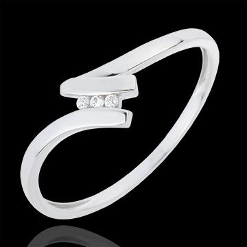 bijoux or Bague Trilogie Nid Précieux - Serena - or blanc - 18 carats