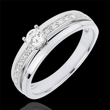 gold jewelry Engagement Ring Solitaire Destiny - My Queen - small size - white gold - 0.20 carat diamond