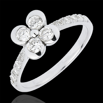gifts women Solitair Ring Freshness - Clover of the Lovers variation - 4 diamonds
