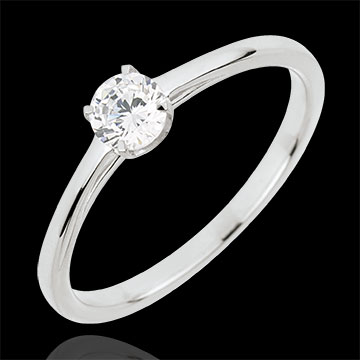 oreficeria Anello Solitario Purezza preziosa - Oro bianco - 18 carati - Diamante - 0.30 carati
