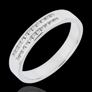 wedding Wedding Ring - White gold half-paved - channel setting 2 rows