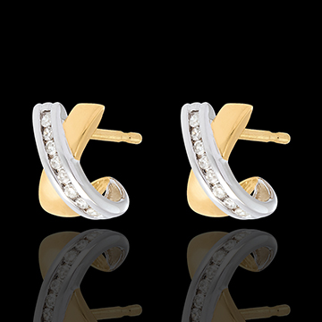 gift women Tandem half-moon earrings yellow and white gold - 16 diamonds